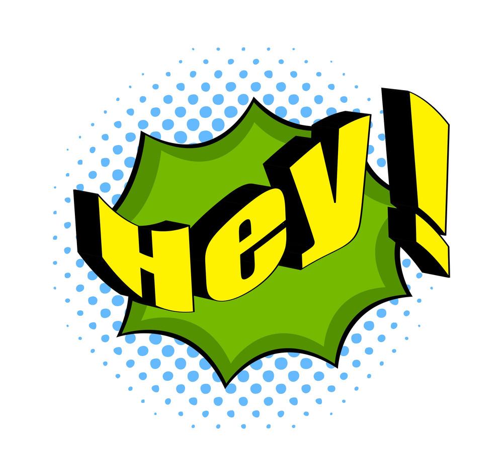Retro Hey Text Design Vector