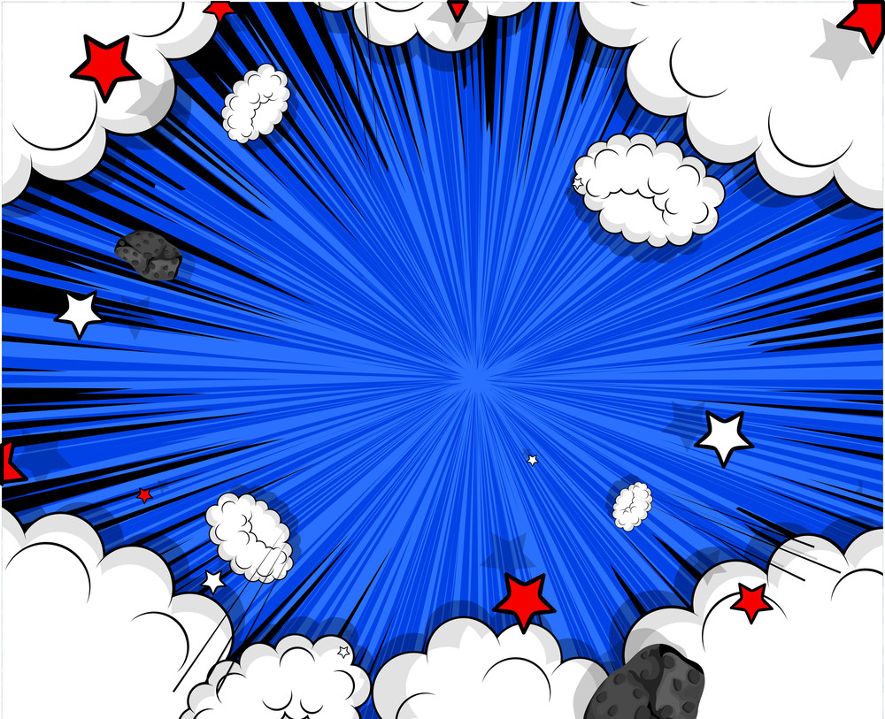 Retro Holiday Graphic Clouds Burst Background
