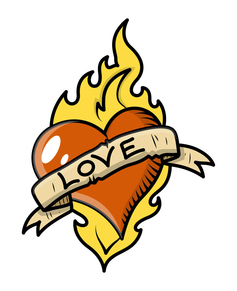 Retro Love Tattoo With Heart, Flame And Vintage Banner Vector Illustration