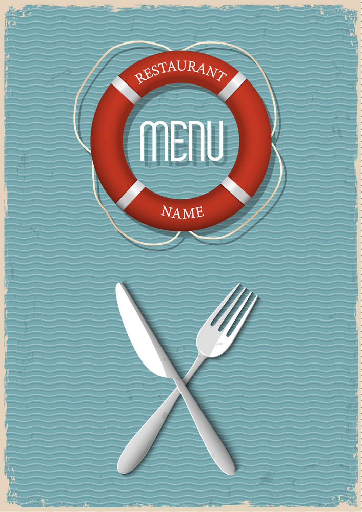Retro Menu Design For Seafood Restaurant-variation 2
