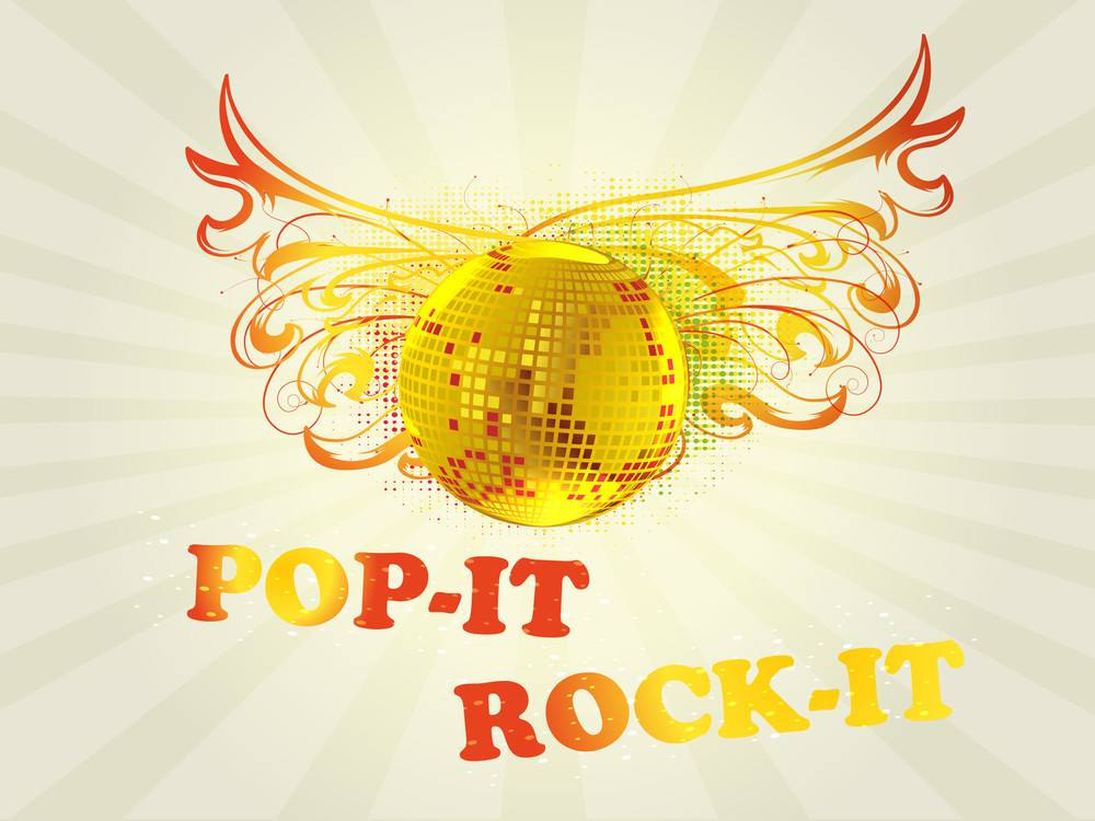 Retro Musical Background With  Disco Ball On Abstract Floral Background For Disco Party And Other Events.