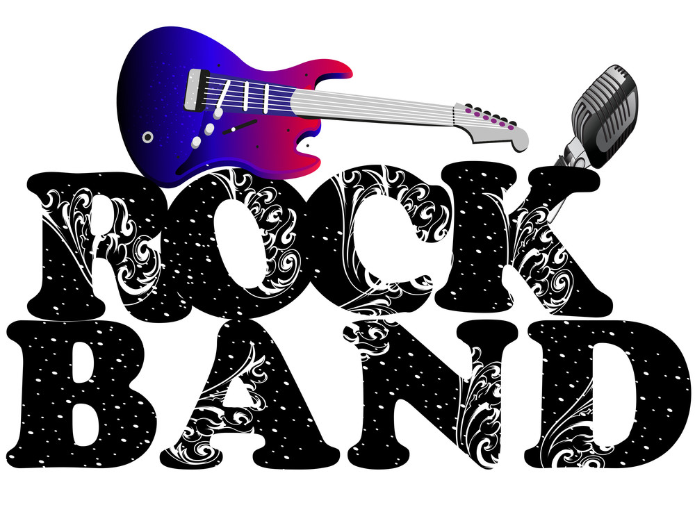 Retro Musical Background With Guitar And Mike And Floral Decorative Text Rock Band Isolated