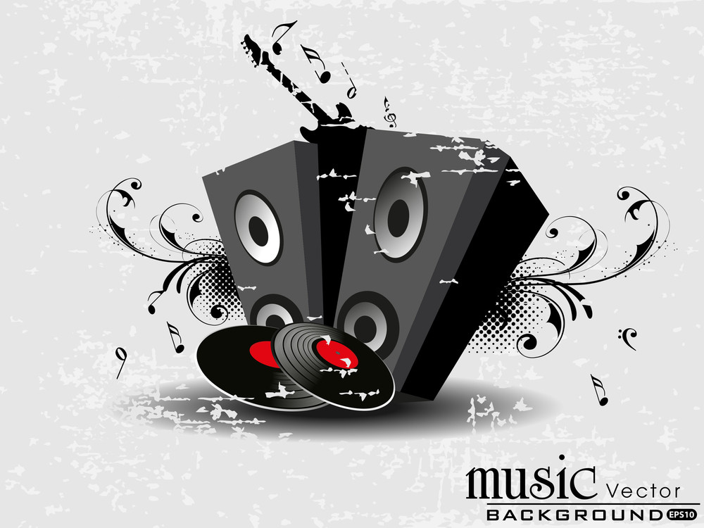 Retro Old Style Card With Musical Ornaments. Vector.