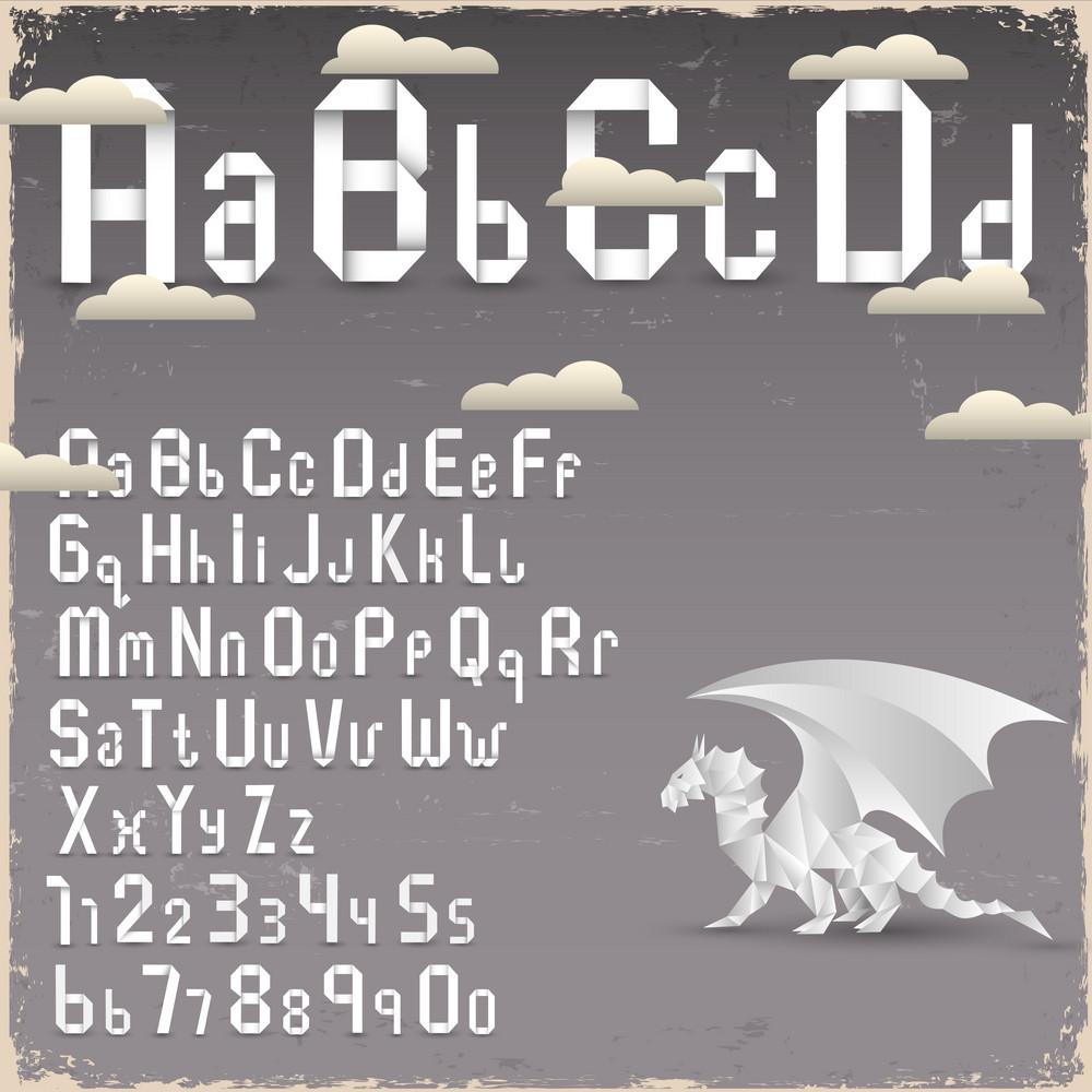 Retro Origami Alphabet With Numbers