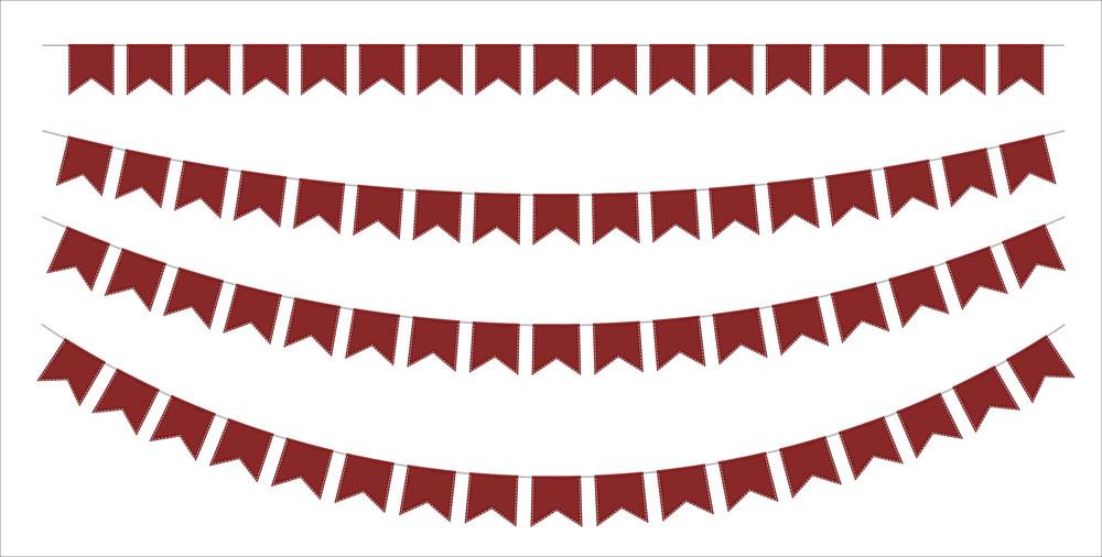 Retro Paper Flags Decor Elements