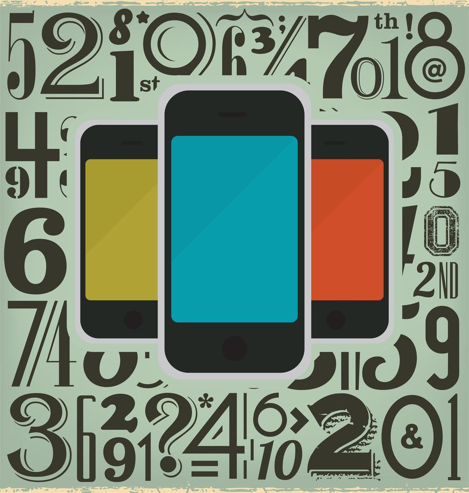 Retro Phones And Numbers Design