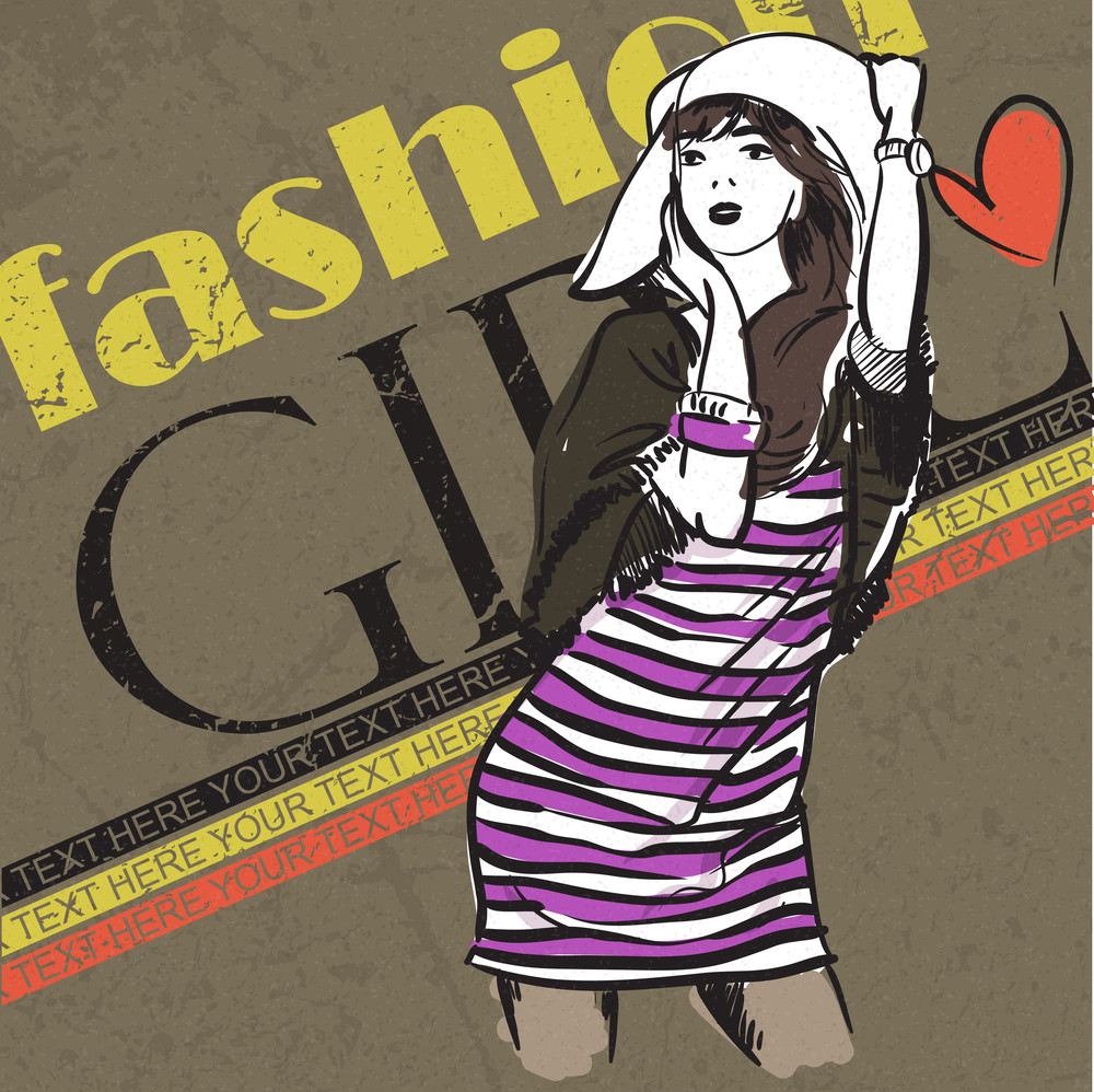 Retro Poster With Pretty Girl.