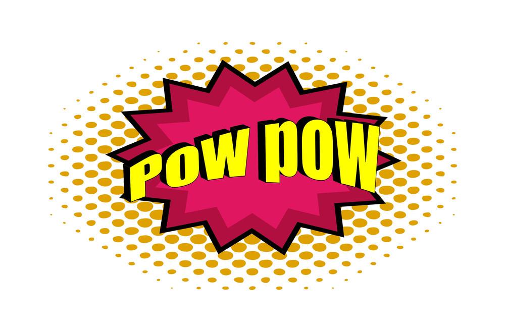 Retro Pow Text Vector Design