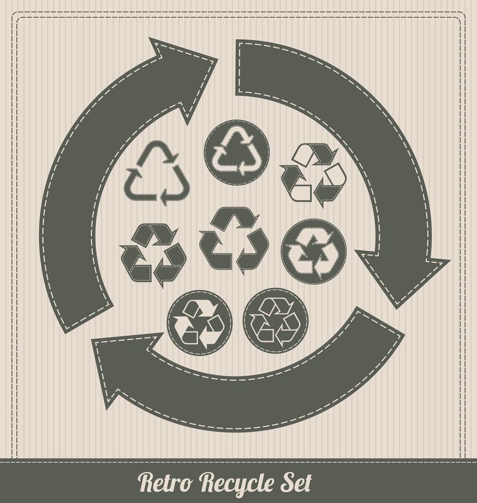 Retro Recycle Symbol Set
