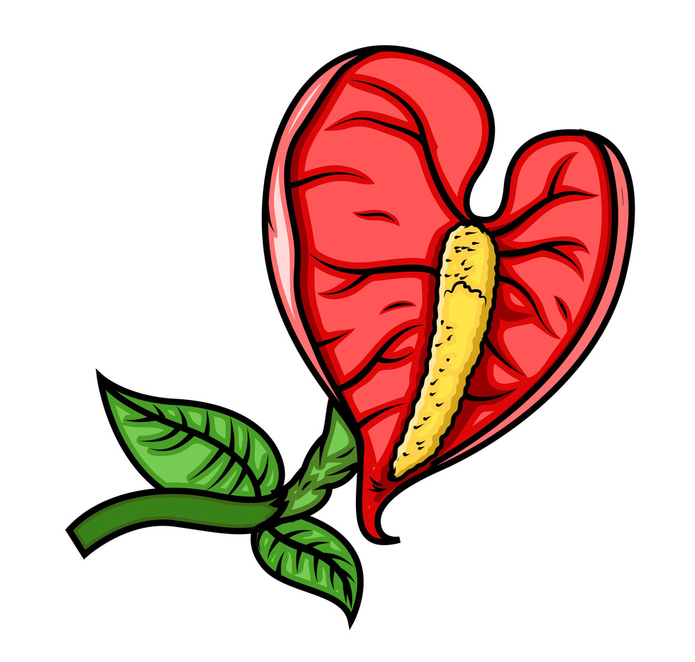Retro Red Leaf Flower Vector