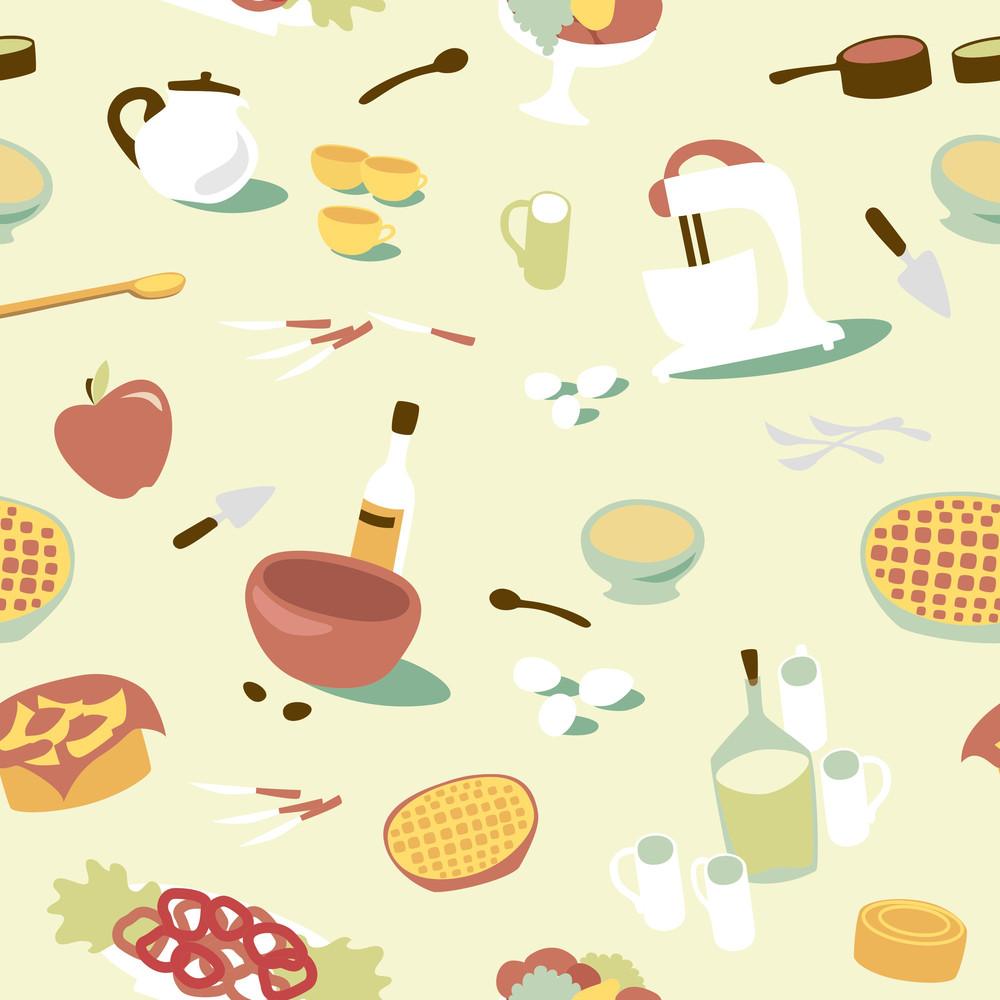 Retro Seamless Kitchen Pattern. Vector Illustration