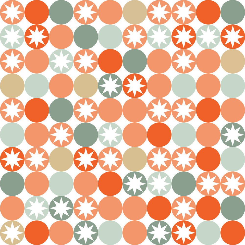 Retro Seamless Pattern With Circles And Stars.