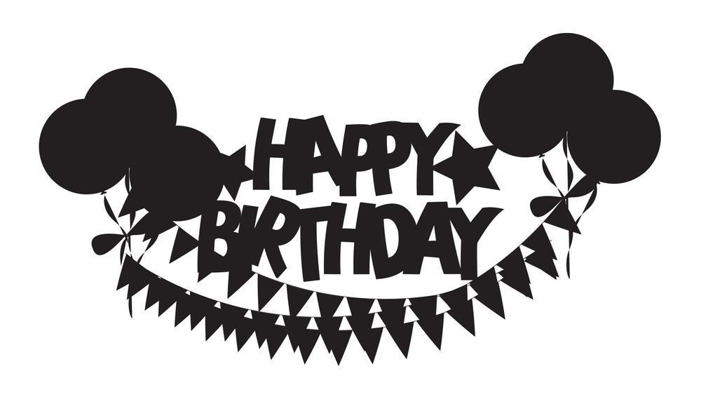 Retro Shape Of Birthday Balloons Banner