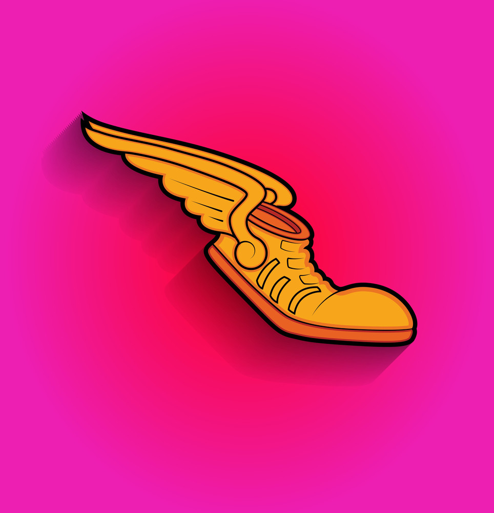 Retro Shoes Flying With Wings