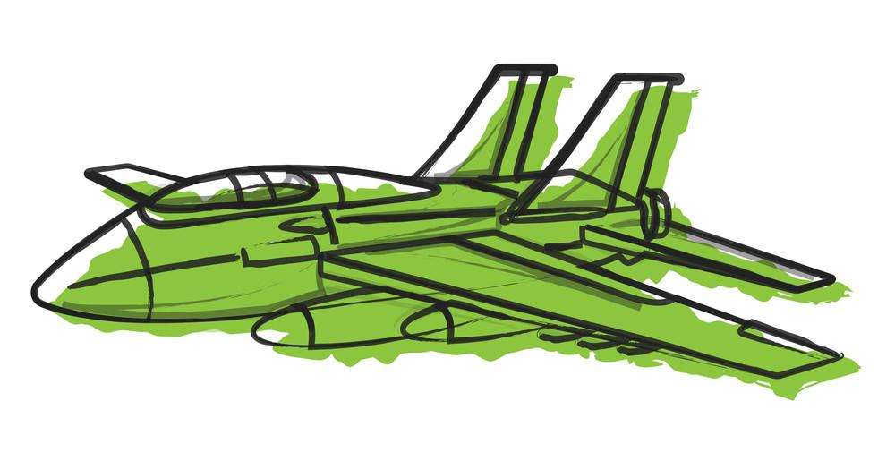 Retro Sketch Of Plane Vector