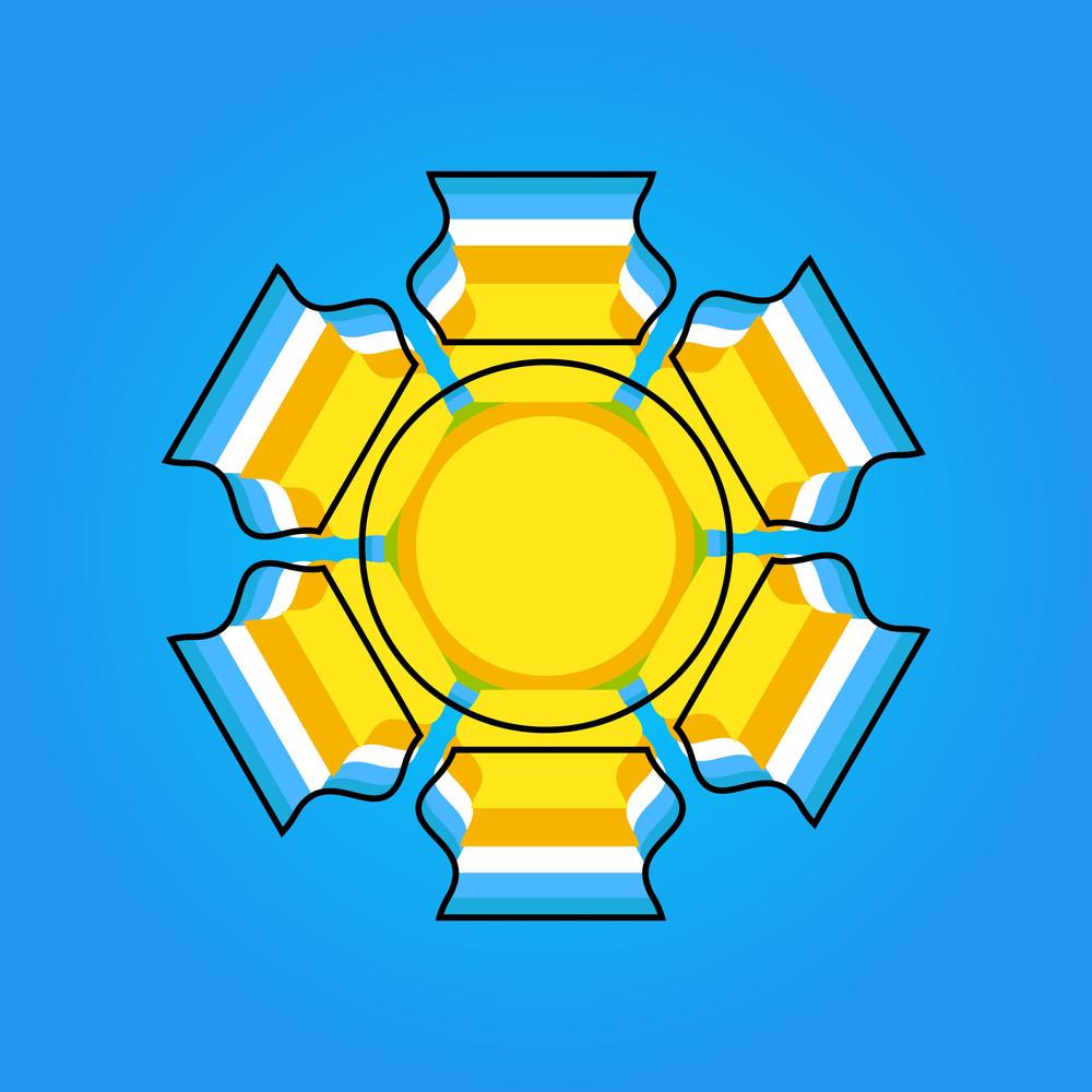Retro Snowflake Frame Vector