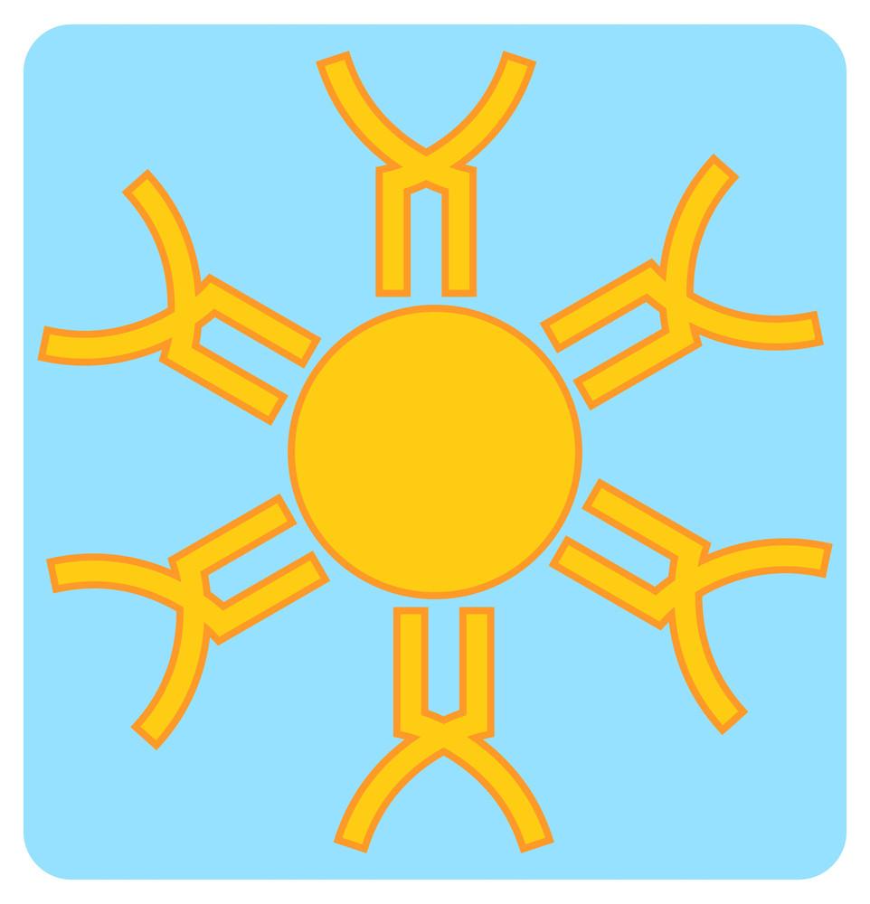 Retro Snowflakes Design Sun Vector