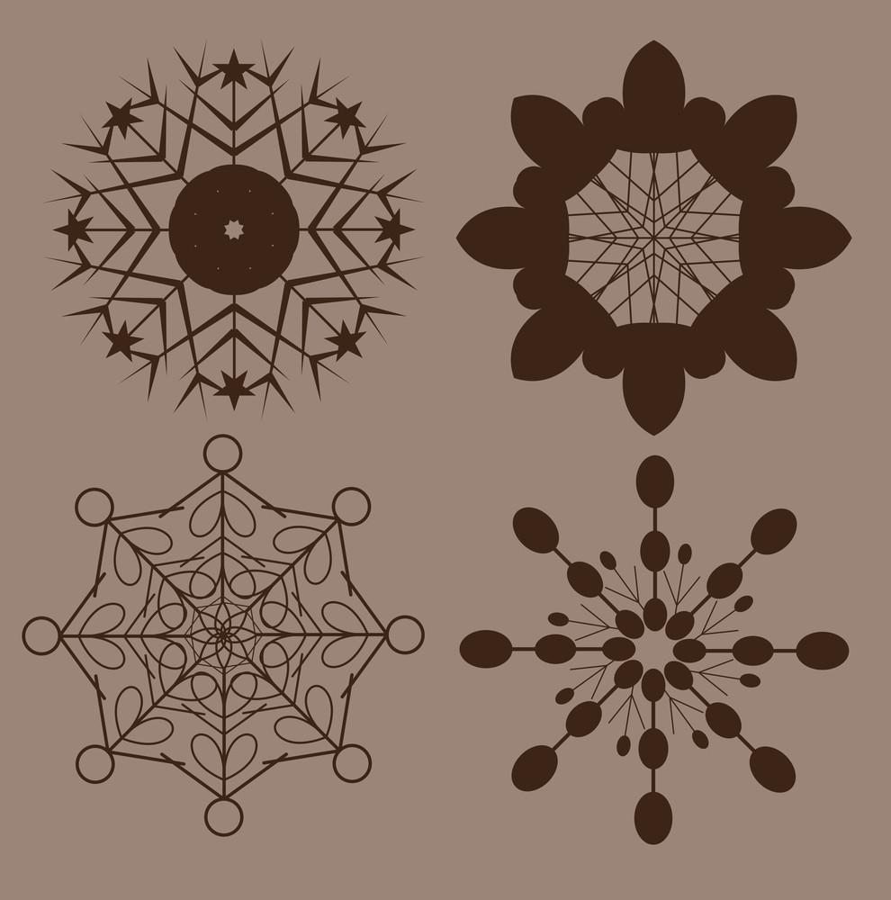 Retro Snowflakes Shapes