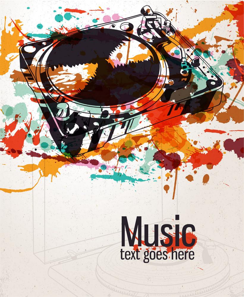 Retro Splatter Music Background Vector Illustration