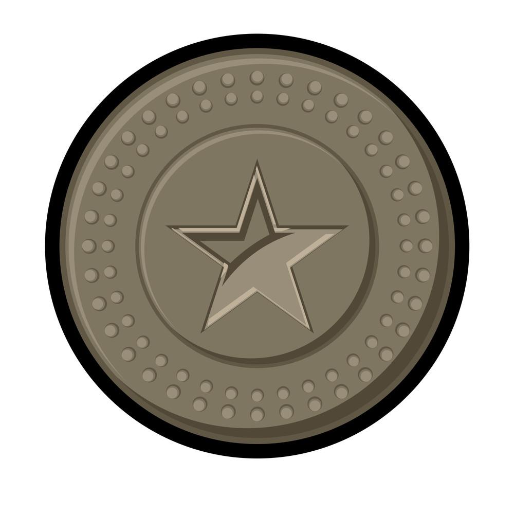 Retro Star Coin Vector Element