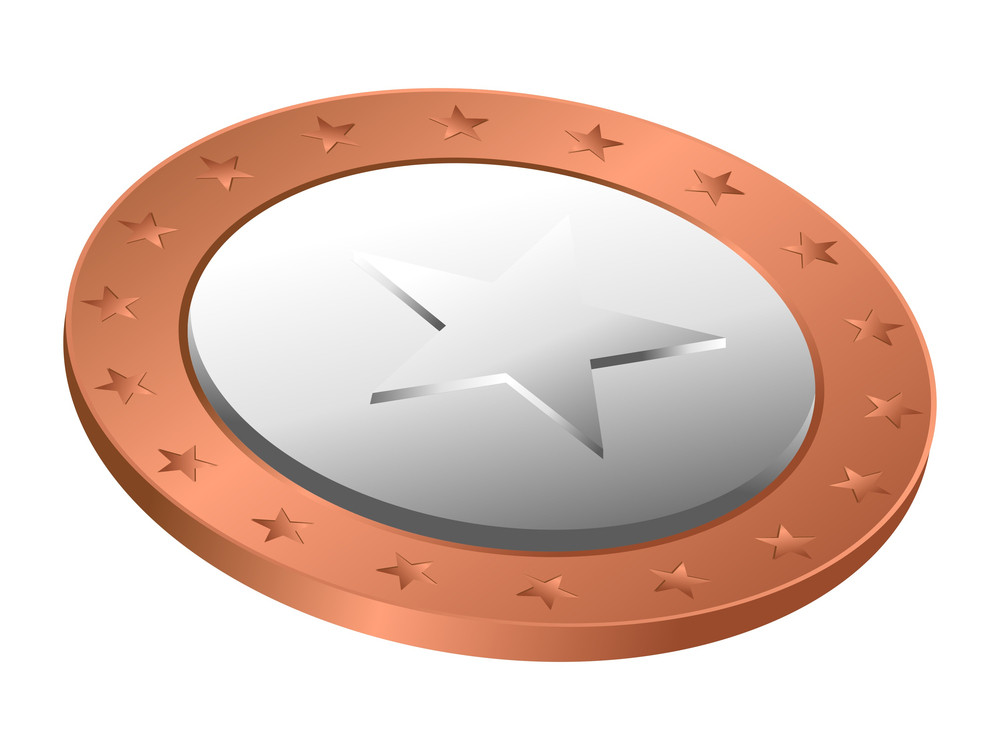Retro Star Coin Vector