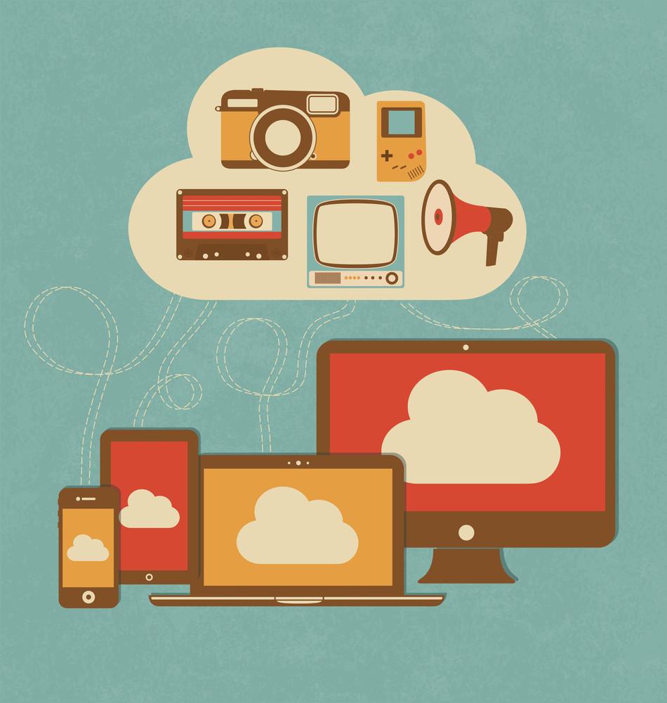 Retro Style Cloud Concept Illustration