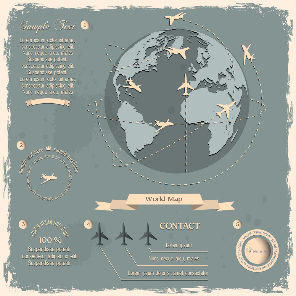 Retro Style Design With Aircrafts And Globe
