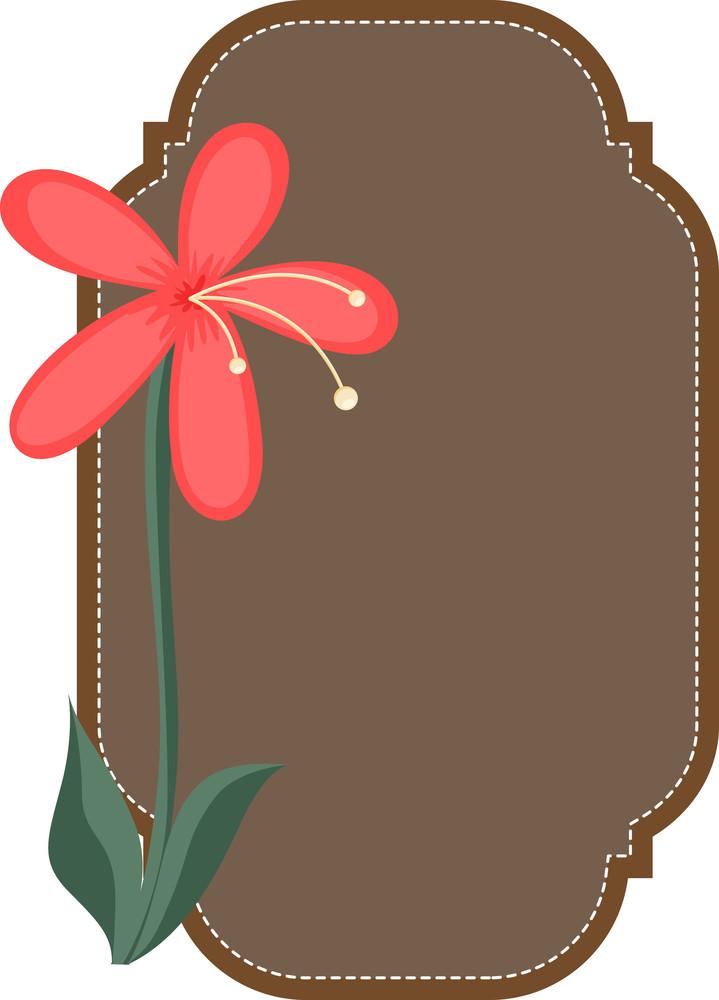 Retro Style Flower Label Vector