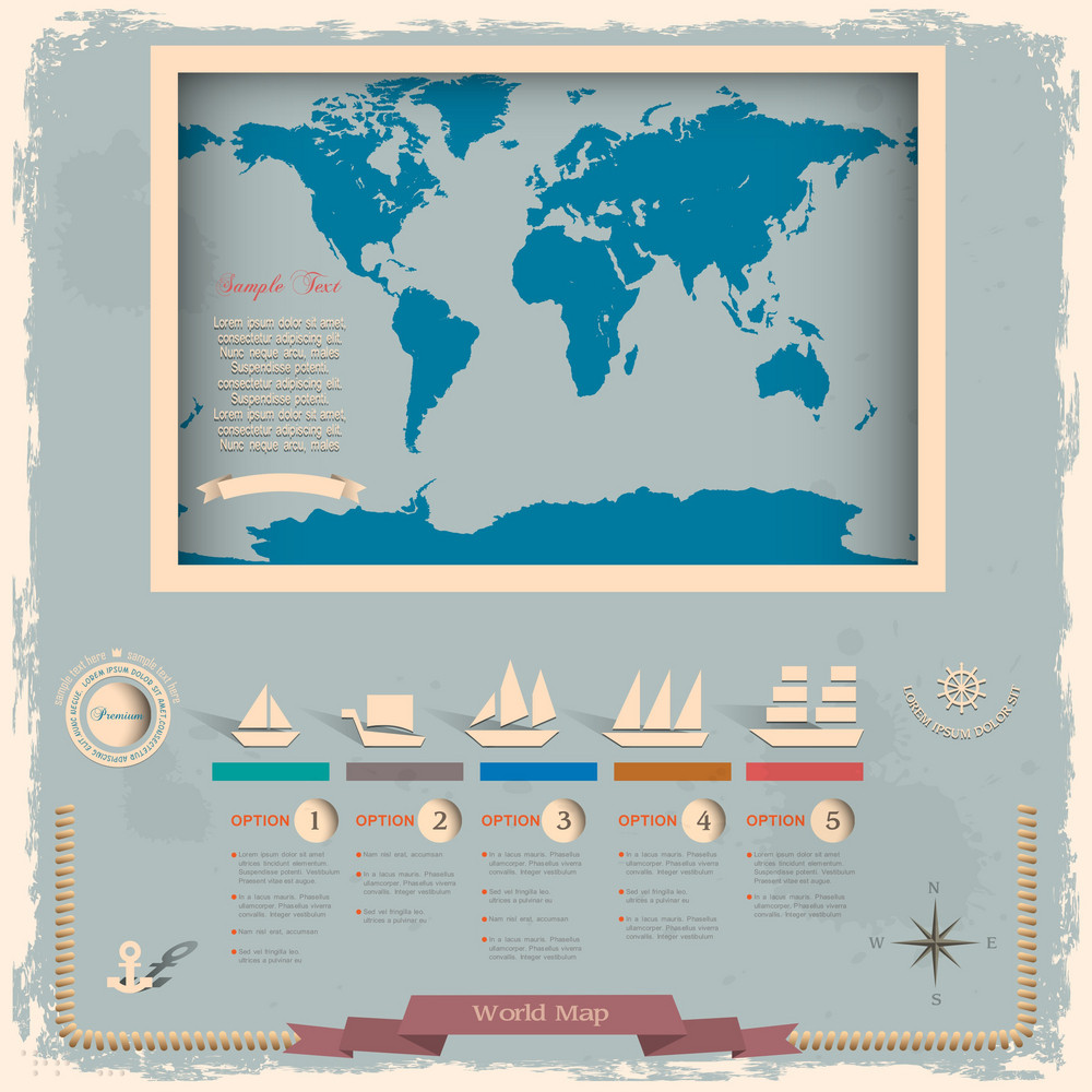 Retro Style World Map With Nautical Design Elements