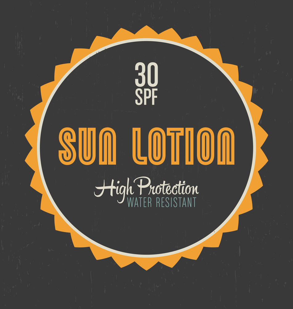 Retro Sun Lotion Label Design