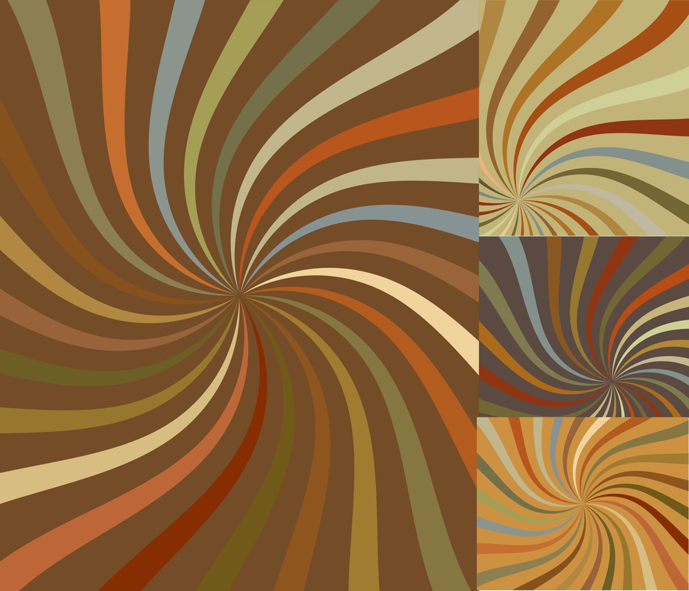 Retro Swirl Sunburst Vectors