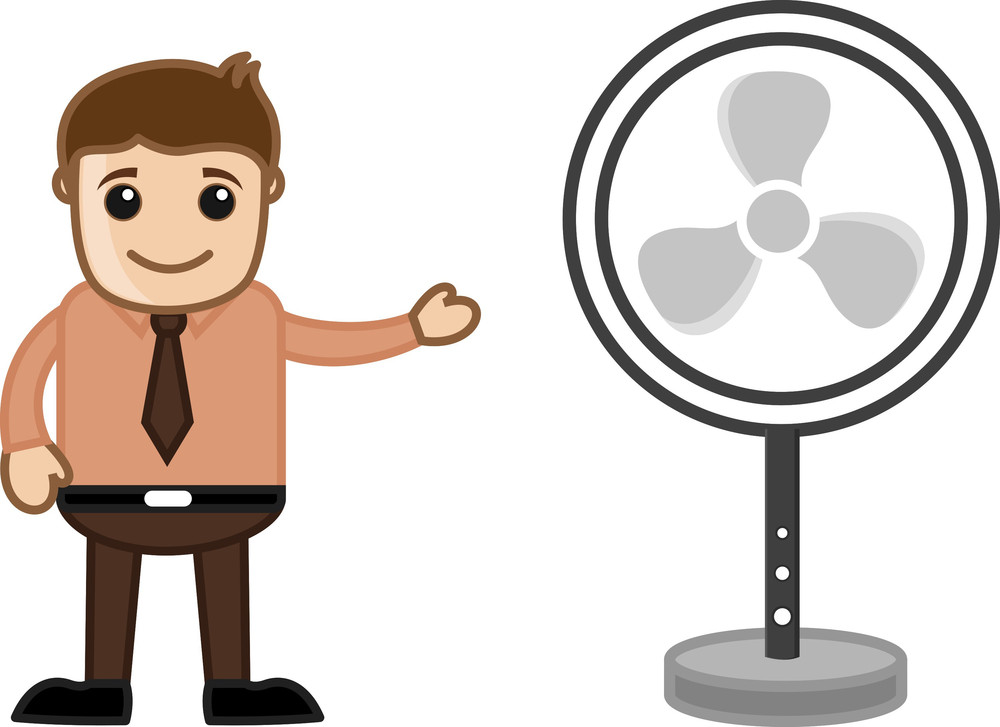Retro Table Fan - Office Character - Vector Illustration