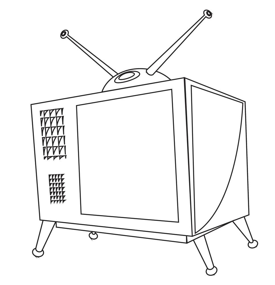 Retro Tv Drawing Vector Illustration