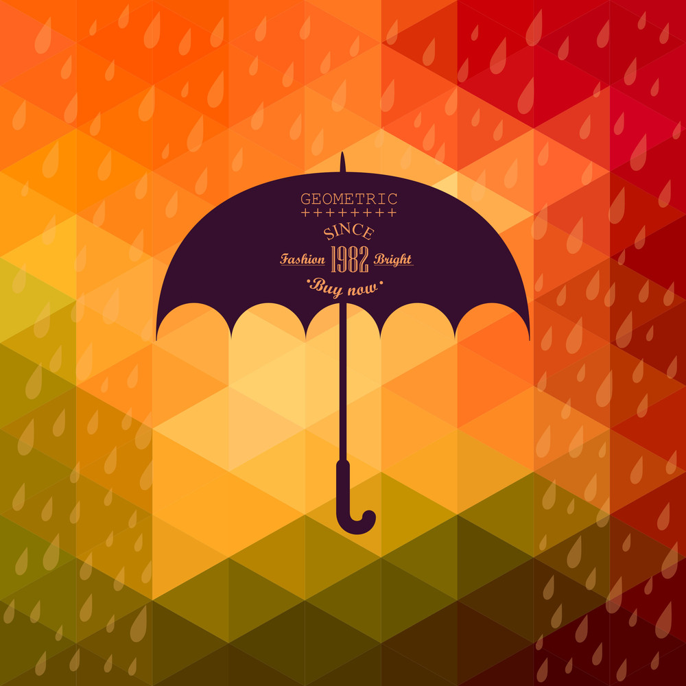 Retro Umbrella Symbol On Hipster Background Made Of Triangles Retro Background With Rain Pattern And Geometric Shapes.label Design. Square Composition With Geometric Shapes
