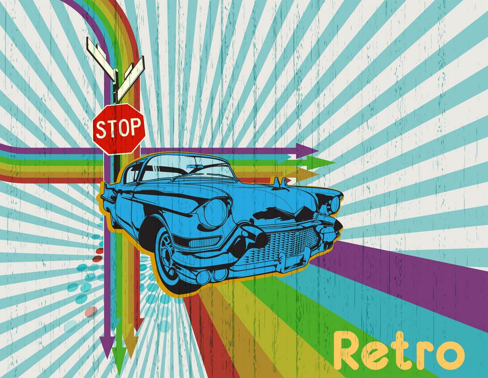 Retro Vector Illustration With Car On Rainbow