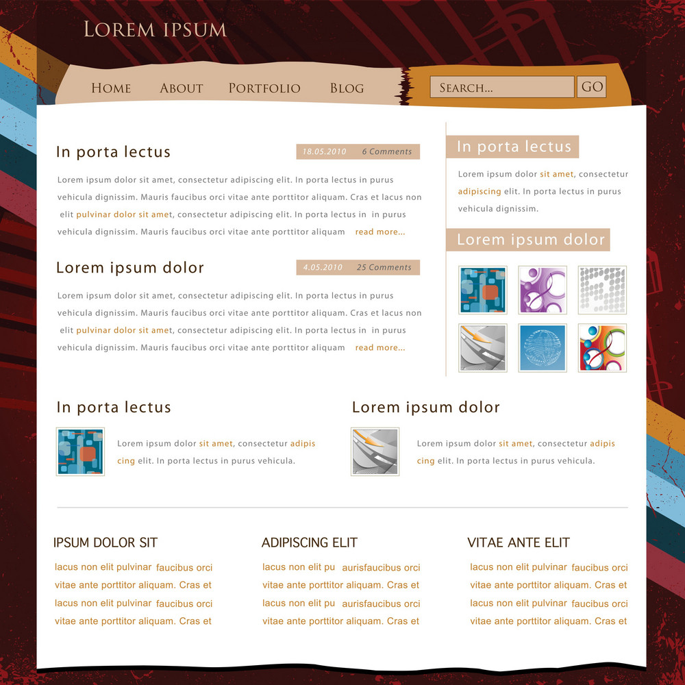 Retro Website Template Vector Illustration
