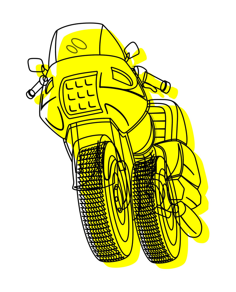 Retro Yellow Sports Bike