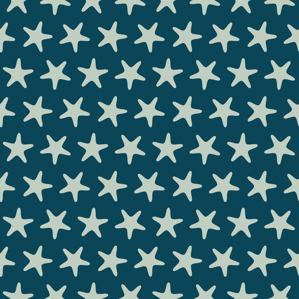 Blue Retro Beach Starfish Pattern