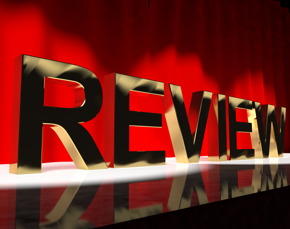 Review Word On Stage Showing Evaluation And Feedback