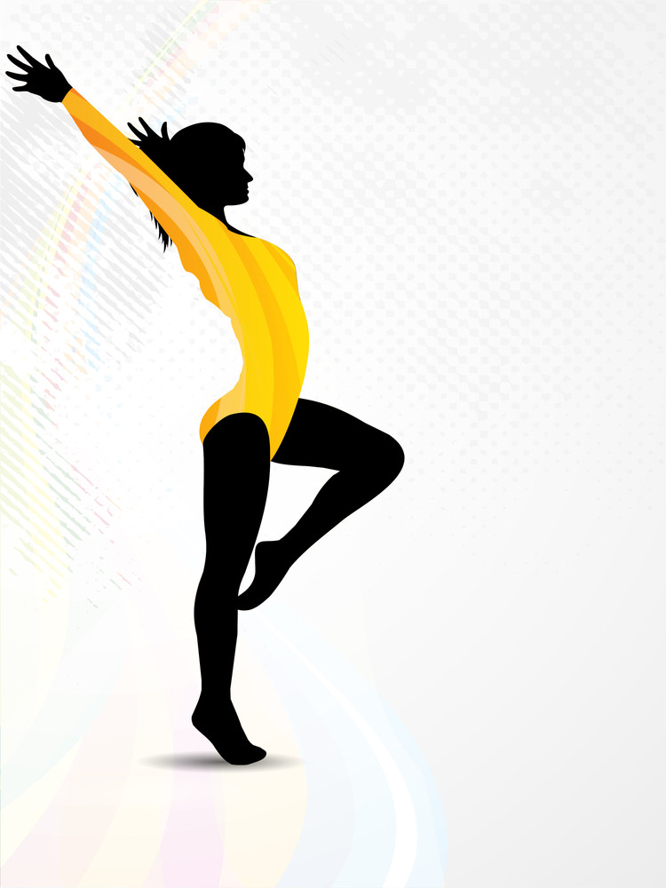 Rhythmic Gymnastic Silhouette On Colorful Wave And Grunge Background. Eps10 Vector Illustration.
