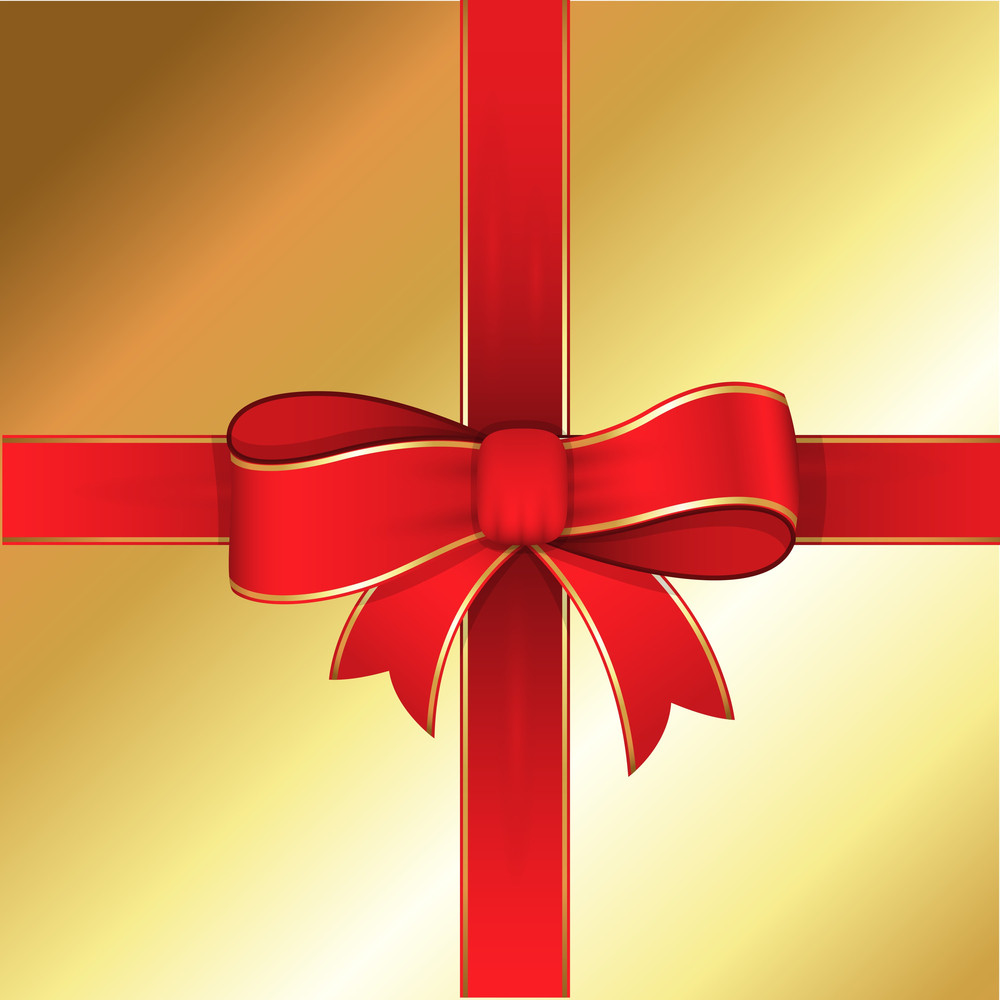 Ribbon Bow Golden Background