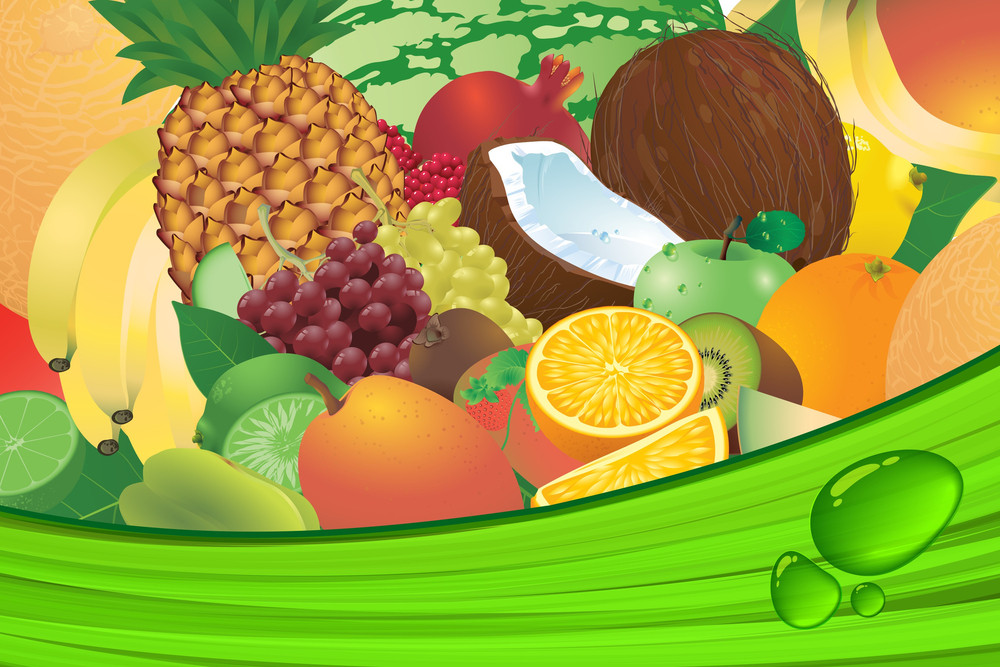 Ripe Fruit Juice Vector Background.