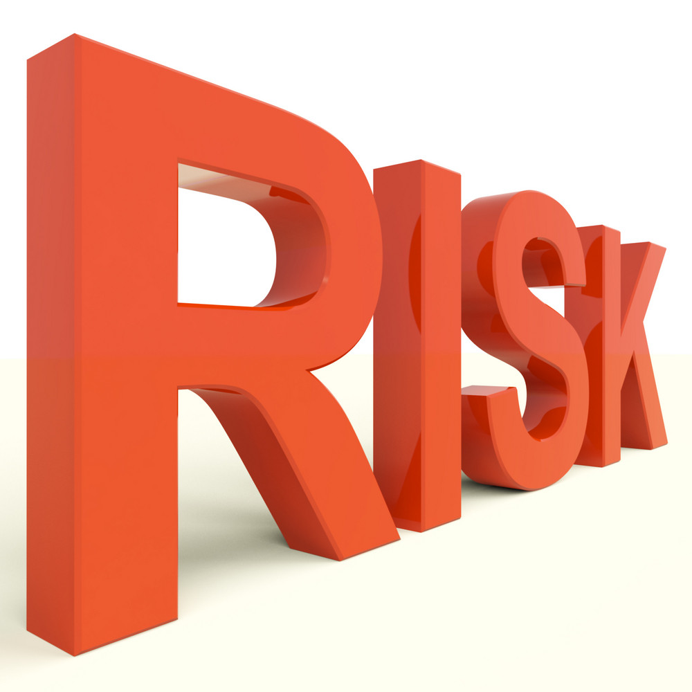 Risk Word In Red Showing Peril And Uncertainty