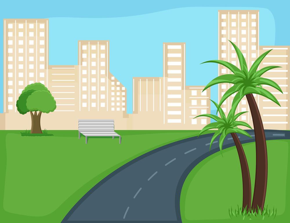 Road - City - Cartoon Background Vector