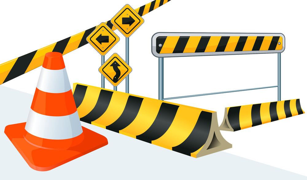 Road Construction Vector Signs.