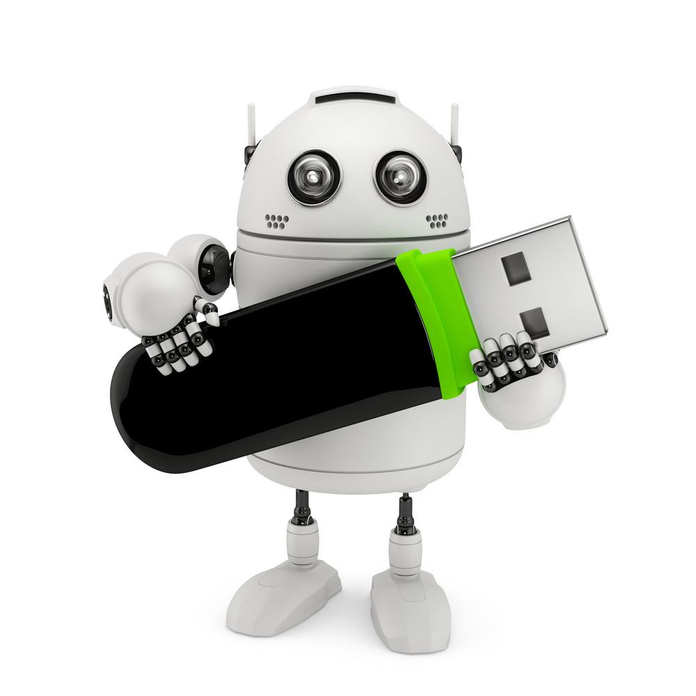 Robot Holding Usb Flash Drive