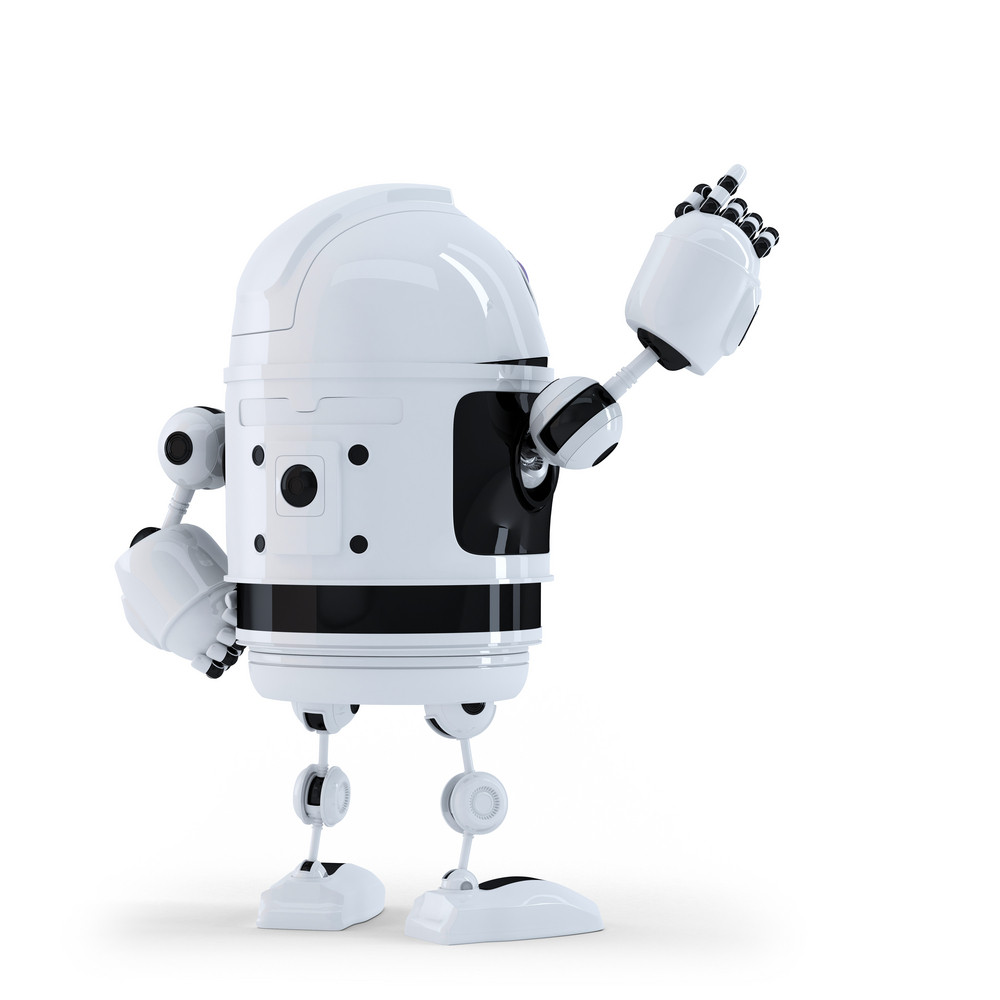 Robot Pointing At Invisible Object. Back View.