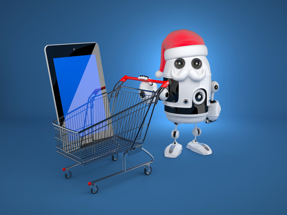 Robot Santa With Shopping Cart And Blank Screen Tablet Computer