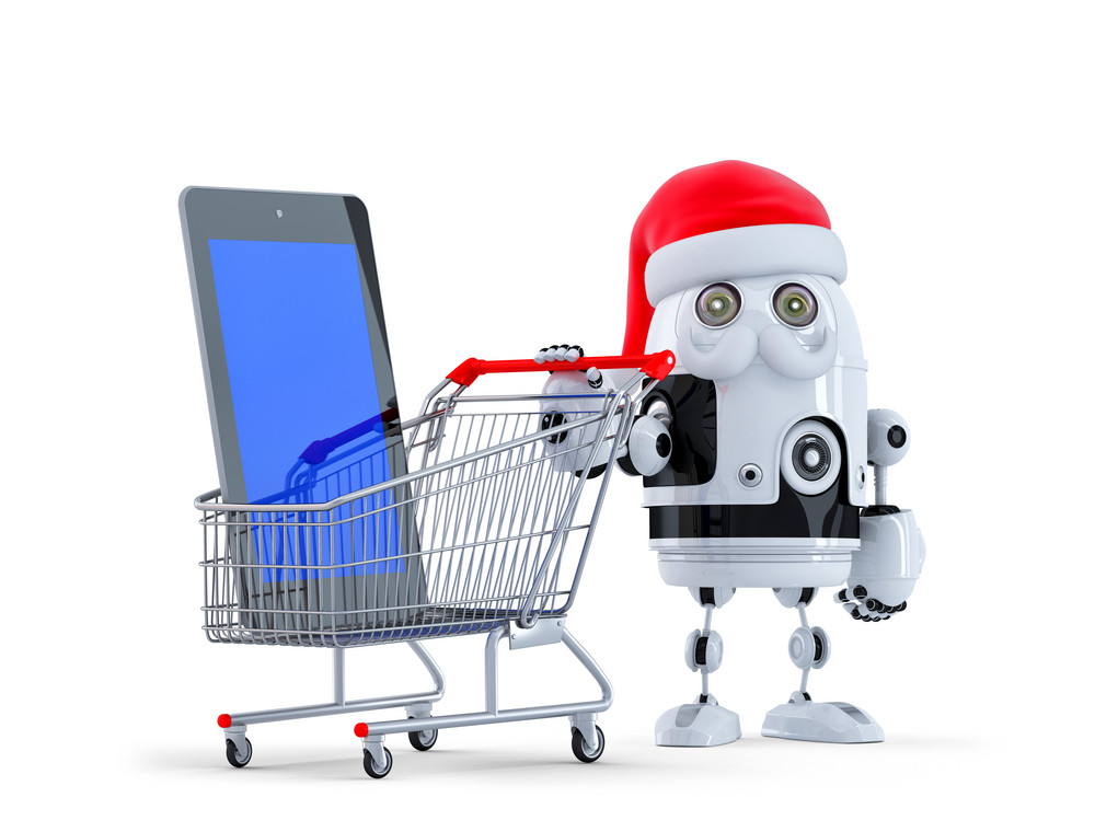 Robot Santa With Tablet Computer And Shopping Cart