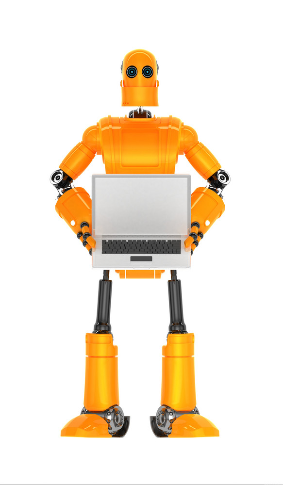 Robot With Blank Laptop Computer